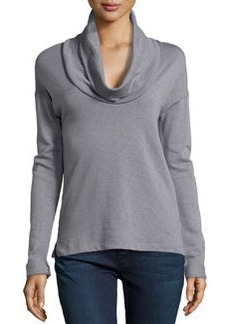 James Perse Cowl-Neck Long-Sleeve Pullover, Quarry