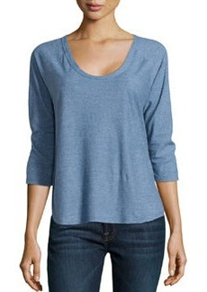 James Perse Curved Hem Baseball Tee, Denim