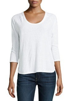 James Perse Curved-Hem Baseball Tee Shirt, White