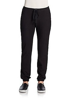James Perse Drawstring Stretch-Cotton Track Pants