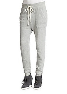 James Perse Dropped-Rise Cotton French Terry Sweatpants