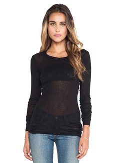 James Perse Extra Long Skinny L/S Crew in Black
