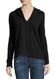James Perse Fleece Long-Sleeve Hooded Sweatshirt, Black