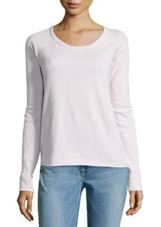 James Perse Fleece Raglan-Sleeve Pullover, Cyclamen (Light Pink)