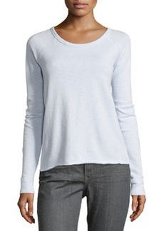 James Perse Fleece Raglan-Sleeve Pullover, Memory (Light Blue)
