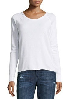 James Perse Fleece Raglan-Sleeve Pullover, White