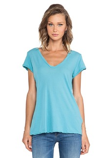 James Perse High Gauge Jersey Deep V Tee in Blue