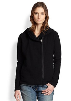 James Perse Hooded Asymmetrical Cotton Jersey Jacket