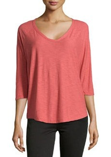 James Perse Jersey Baseball-Style Tee, Faded Red