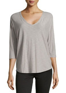 James Perse Jersey Baseball-Style Tee, Shadow