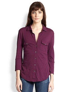James Perse Jersey Button-Front Shirt