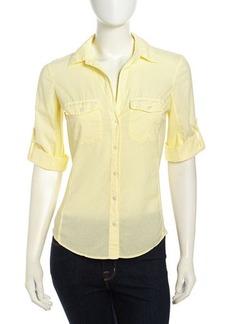 James Perse Long-Sleeve Contrast Poplin Shirt