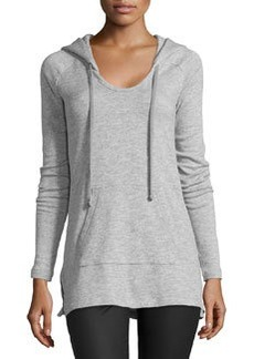 James Perse Long-Sleeve Fleece Hoodie Sweatshirt, Heather Gray
