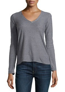 James Perse Long-Sleeve V-Neck Tee, Quarry