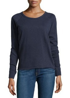 James Perse Rolled Hem Raglan Sleeve Pullover, True Navy