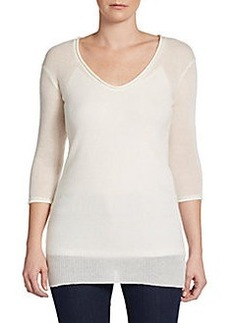 James Perse Rolled V-Neck Cashmere Pullover