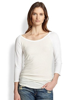 James Perse Ruched Cotton Baseball Tee