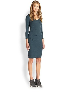 James Perse Ruched-Side Cotton Jersey Dress