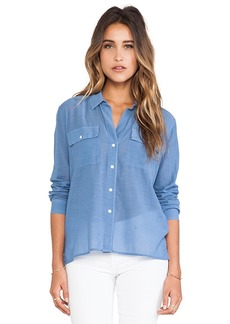 James Perse Silk Blend Pocket Shirt in Blue