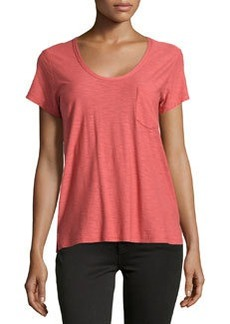 James Perse Slub Jersey Pocket Tee, Faded Red