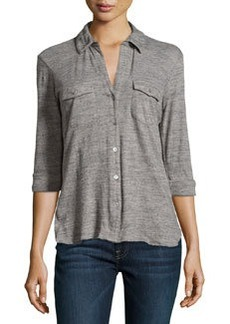 James Perse Slub Knit Button-Up Shirt, Shadow/Salt & Pepper