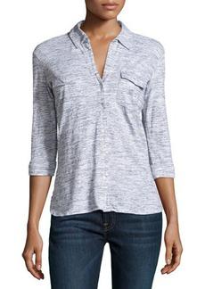 James Perse Slub Knit Button-Up Shirt