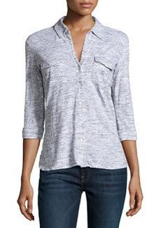 James Perse Slub Knit Button-Up Shirt, White/Salt & Pepper