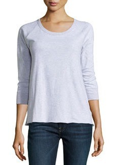 James Perse Striped 3/4-Sleeve Raglan Tee, White