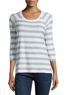 James Perse Striped 3/4-Sleeve Slub Knit Top, White