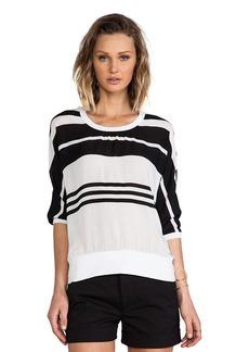 James Perse Striped Chiffon Sweat Shirt in Black & White