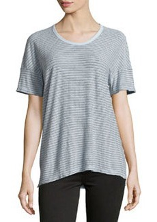 James Perse Striped Cotton-Blend Jersey Tee, Sky Blue
