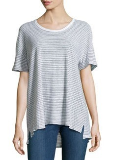 James Perse Striped Cotton-Blend Jersey Tee, White