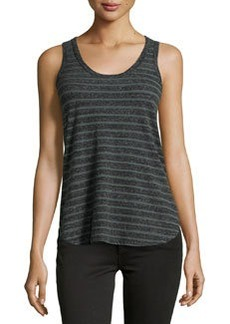 James Perse Striped Cotton Jersey Tank, Green/Gray