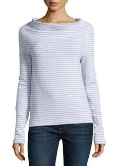James Perse Striped Drape Neck Pullover
