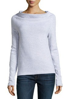 James Perse Striped Drape Neck Pullover, White