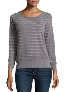 James Perse Striped Jersey Scoop-Neck Pullover, Quarry