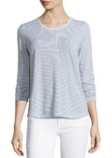 James Perse Striped Long-Sleeve Henley Tee, White