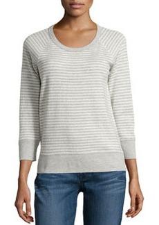 James Perse Striped Raglan Sweatshirt, Natural