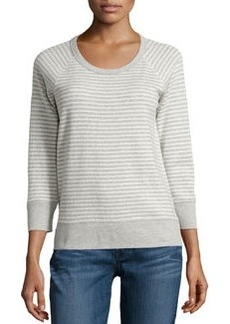 James Perse Striped Raglan Sweatshirt, Natural