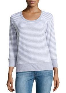James Perse Striped Raglan Sweatshirt, Natural/Heather Gray