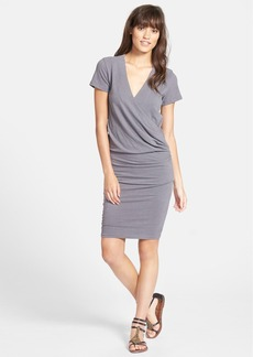 James Perse Sueded Stretch Jersey Wrap Dress