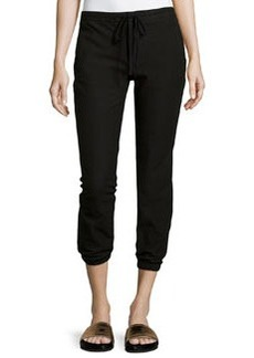James Perse Twill Cropped Jogger Pants, Black
