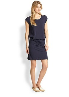 James Perse Twisted-Waist Stretch Cotton Jersey Dress
