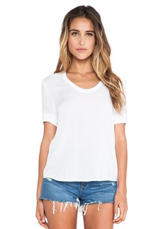 James Perse V Neck Chiffon Tee in White