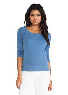 James Perse Vintage Cotton Raglan Pullover in Blue