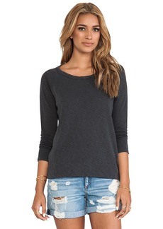 James Perse Vintage Cotton Raglan Pullover in Charcoal