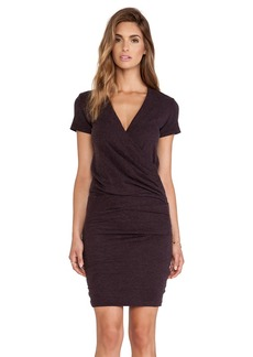 James Perse Wrap Tee Blouson Dress in Wine