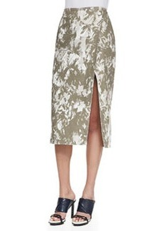 Brushstroke-Print Midi Wrap Skirt, Army Multi   Brushstroke-Print Midi Wrap Skirt, Army Multi