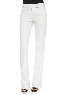 Cotton Twill Boot-Cut Trousers, Chalk   Cotton Twill Boot-Cut Trousers, Chalk