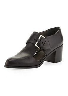 Cutout Leather Buckle Loafer, Black   Cutout Leather Buckle Loafer, Black